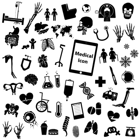 Stel medische icoon (been, hand, reageerbuis, borst, drug, sperma, iv vloeistof, x ray, CT-scan, hersenen, hart, nier, darm, baarmoeder, dna, long, oog, schedel, bekken, arm, rug, bot)