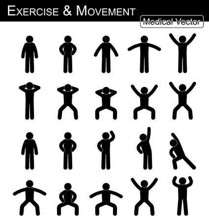 Exercício e movimento (movimento passo a passo) (vetor de homem simples de palito) (conceito de medicina, ciência e saúde)