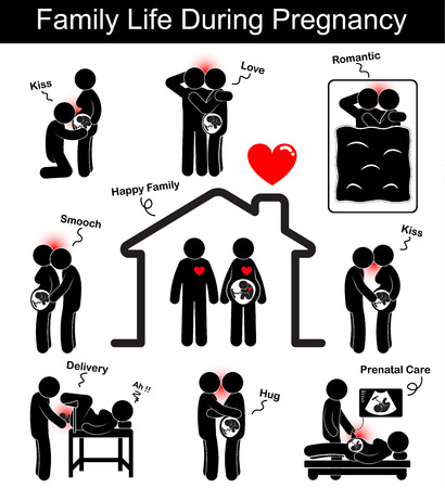 Family life during pregnancy ( husband and wife with different gesture : kiss , smooch ,smack , hug , love , romance on bed time , doctor deliver a baby in hospital , prenatal care ) ( flat design )