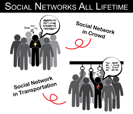 addict: Social networks all lifetime ( man chat with someone in crowd , transportation and ignore everything ) ( addict social network ) Illustration