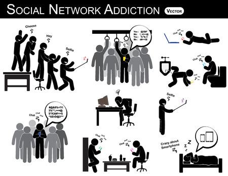 telefono caricatura: la adicción a la red social. un teléfono inteligente del uso del hombre cada vez que, en todas partes (en el baño, oficina, hogar, autobús, comedor) e ignorar todo. la gente le gusta autorretrato, fotografía.