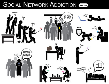 Social network addiction . a man use smartphone every time , everywhere ( in restroom , office , home , bus , dining room ) and ignore everything . people like to self portrait , photography . Vector Illustration