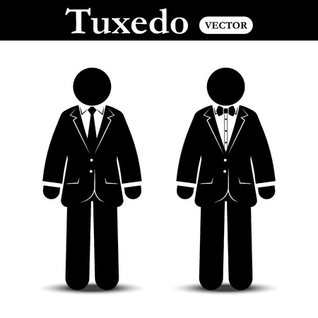 formal wear: Business suit and Tuxedo suit ( stick man wear business suit and tuxedo suit ) Illustration