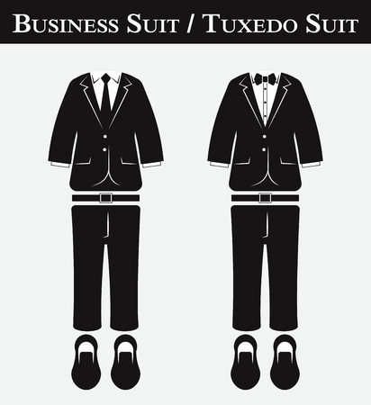 man in tuxedo: Business suit and Tuxedo suit ( vintage style , flat design ) Illustration