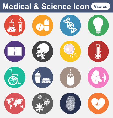 deoxyribonucleic: Medical and Science icon(test tube , drug , DNA , light bulb , note book , skull , sperm and ovum , thermometer, wheelchair , fast food , mouse , fetus , earth map , snow crystal , fingerprint ,heart) Illustration