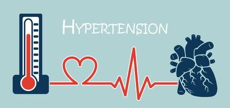 (Concepto de ENT (enfermedades no transmisibles)) esencial o hipertensión primaria (presión arterial alta) (esfigmomanómetro conectar con el corazón) (diseño plano)