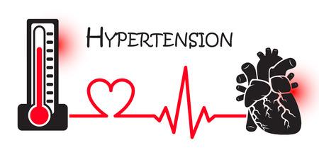 hipertension: La hipertensión esencial o primaria (presión arterial alta) (esfigmomanómetro conectar con el corazón) (diseño plano) (concepto de ENT (enfermedades no transmisibles)) (ataque al corazón) Vectores