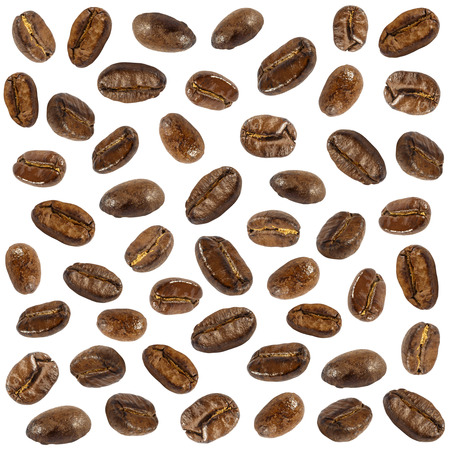 compile: Collection of  fresh roasted coffee beans ( close up ) ( isolate background ) Stock Photo