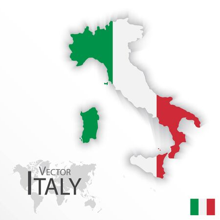 2d map: Italy ( Italian Republic ) ( flag and map ) ( transportation and tourism concept )