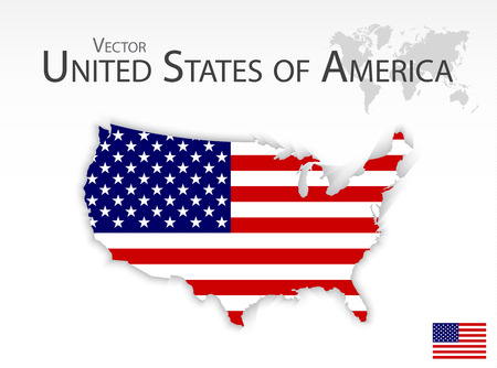 United States of America ( map and flag ) 矢量图像