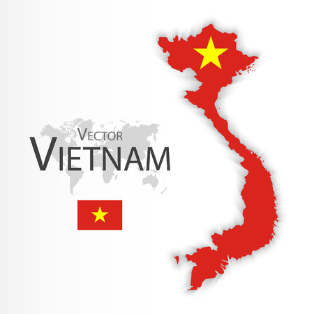 Vietnam ( Socialist Republic of Vietnam )( flag and map )( Transportation and tourism concept )