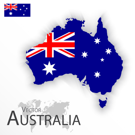 Australia ( flag and map ) ( Transportation and tourism concept )