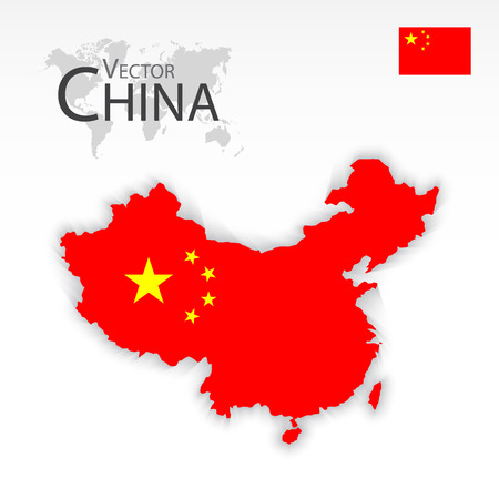 2d map: China ( People s Republic of China ) ( map and flag ) ( Transportation and tourism concept )