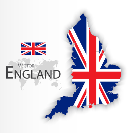 Indicador de Inglaterra y el mapa (Reino Unido de Gran Bretaña) (combinan bandera y el mapa) (Concepto de transporte y turismo)