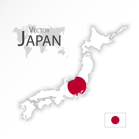 2d map: Japan ( map and flag )( transportation and tourism concept )