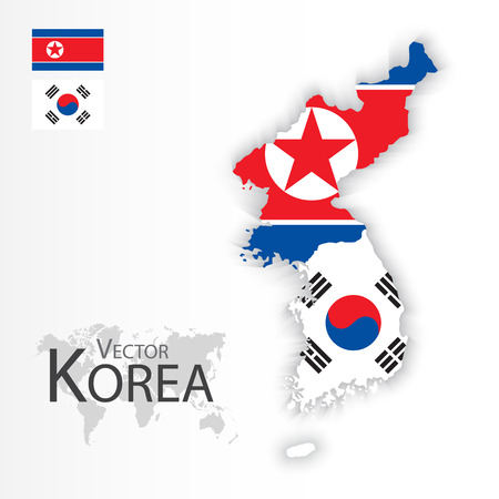 North Korea ( Democratic People 's Republic of Korea ) and South Korea ( Republic of South Korea ) ( flag and map ) ( transportation and tourism concept ) Ilustração