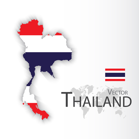 2d map: Thailand ( flag and map )( Transportation and tourism concept )