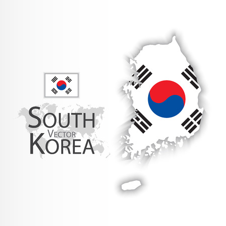 2d map: South Korea ( Republic of South Korea ) ( flag and map ) ( transportation and tourism concept ) Illustration
