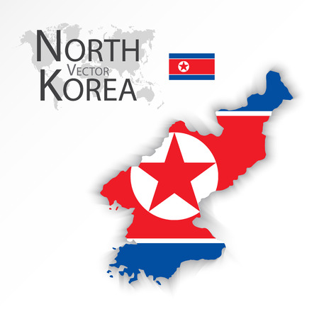 korea flag: North Korea ( Democratic People s Republic of Korea ) ( flag and map ) ( transportation and tourism concept )