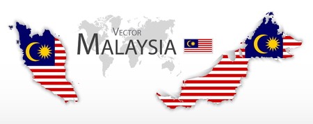 east: Malaysia ( Federation of Malaysia )( flag and map )( transportation and tourism concept )