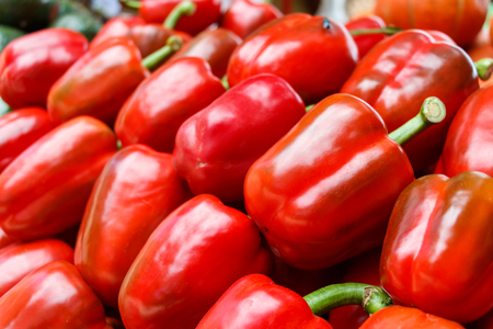 red  green: sweet pepper ( green pepper ) in market Stock Photo