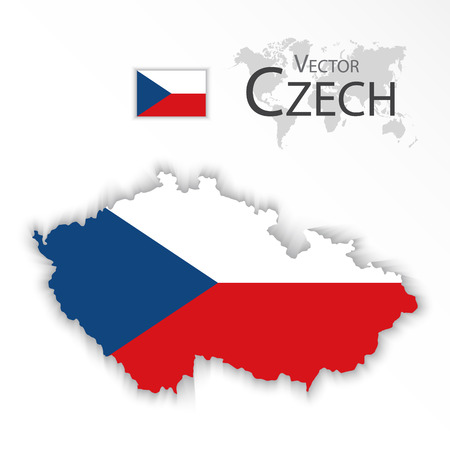 2d map: Czech Republic ( flag and map ) ( transportation and tourism concept )