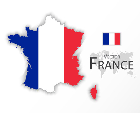 2d map: Republic of France ( flag and map ) ( transportation and tourism concept )