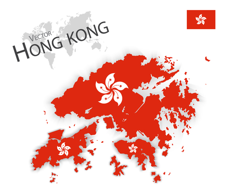 2d map: Hong Kong ( Hong Kong Special Administrative Region of the Peoples Republic of China ) ( flag and map ) ( transportation and tourism concept )