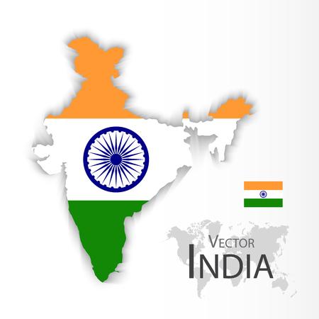 bandera de la india: República de la India (bandera y el mapa) (transporte y turismo concepto)