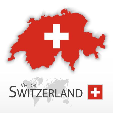 Schweiz (Schweizerische Eidgenossenschaft) (Flagge und Karte) (Transport und Tourismus-Konzept) Vektorgrafik