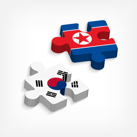 banner of peace: jigsaw of south korea and north korea ( political and confliction concept ) ( 3 dimension jigsaws ) Illustration