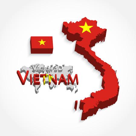 Vietnam 3D ( Socialist Republic of Vietnam )( flag and map )( Transportation and tourism concept )