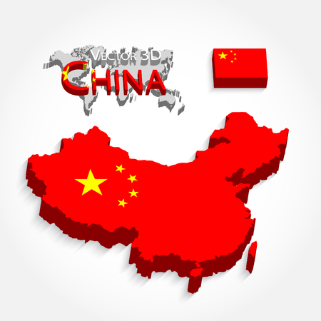 china people: China 3D ( People s Republic of China ) ( map and flag ) ( Transportation and tourism concept )