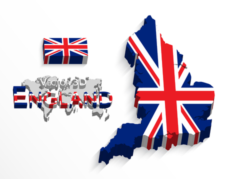 united states flag: England 3D ( flag and map ) ( United Kingdom of Great Britain ) ( combine flag and map )