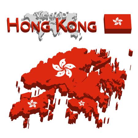 hongkong: Hong Kong 3D ( Hong Kong Special Administrative Region of the Peoples Republic of China ) ( flag and map ) ( transportation and tourism concept )