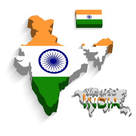 india 3d: Republic of India 3D ( flag and map ) ( transportation and tourism concept )