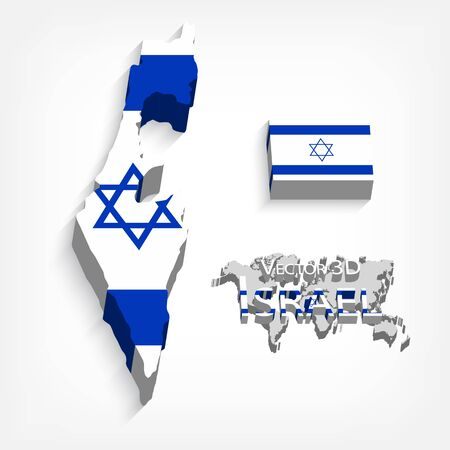 israelite: State of Israel 3D ( flag and map )( transportation and tourism concept )