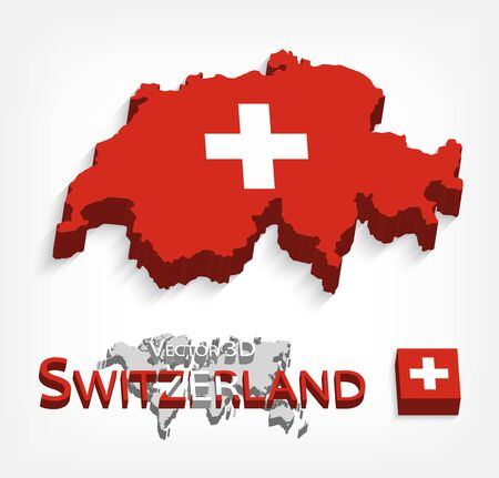 confederation: Switzerland 3D ( Swiss Confederation ) ( flag and map ) ( transportation and tourism concept )