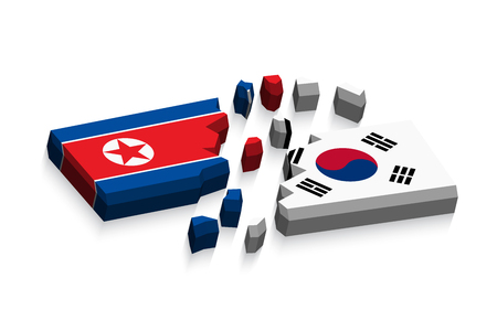 three dimension: Flag of north korea and south korea 3D ( damaged flags ) ( three dimension vector )