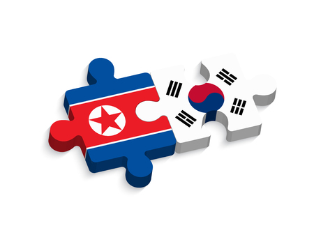 jigsaw of south korea and north korea ( political and confliction concept ) ( 3 dimension jigsaws ) Иллюстрация
