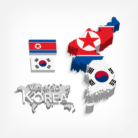 North Korea ( Democratic People s Republic of Korea ) and South Korea 3D ( Republic of South Korea ) ( flag and map ) ( transportation and tourism concept ) 向量圖像