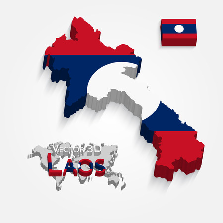 aec: Laos ( People s Democratic Republic of Laos ) ( map and flag ) ( transportation and tourism concept ) , lao is one of AEC ( ASEAN Economic Community ) Illustration