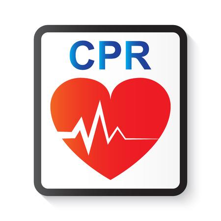 vital: CPR ( cardiopulmonary resuscitation ) , heart and ECG ( Electrocardiogram ) ( image for basic life support and advanced cardiac life support ) Illustration