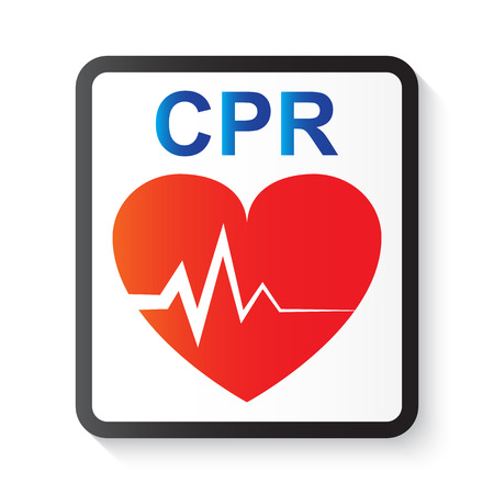 CPR ( cardiopulmonary resuscitation ) , heart and ECG ( Electrocardiogram ) ( image for basic life support and advanced cardiac life support ) 矢量图像