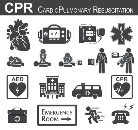 bonhomme allumette: RCR (réanimation cardiorespiratoire) icône (noir et blanc, design plat), support de vie de base (BLS) et de soutien avancée de la vie cardiaque (ACLS) (bouche à bouche, compression thoracique, la défibrillation)