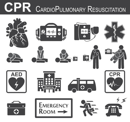 CPR ( Cardiopulmonary resuscitation ) icon ( black & white , flat design ) , Basic life support ( BLS )and Advanced cardiac life support ( ACLS )( mouth to mouth , chest compression , defibrillation ) Illustration
