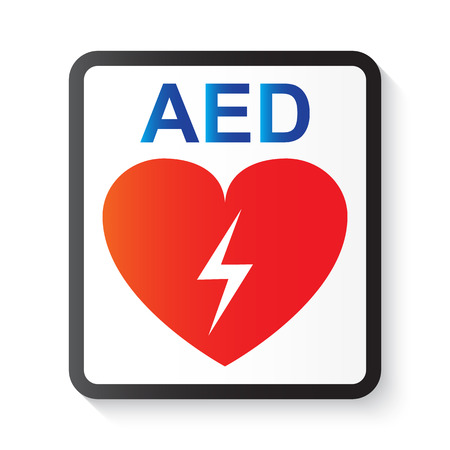 life support: AED ( Automated External Defibrillator ) , heart and thunderbolt ( image for basic life support and advanced cardiac life support ) Illustration
