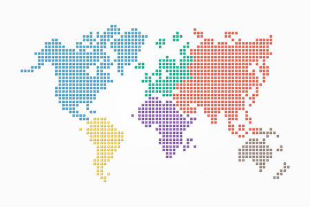 World map ( pixel style and flat color design ) ( different color of continent ) Illustration