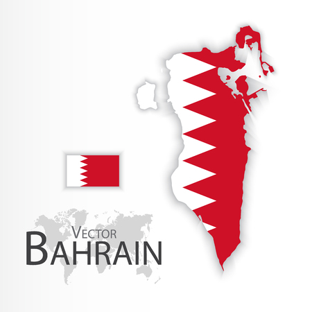 middleeast: Bahrain ( Kingdom of Bahrain ) ( flag and map ) ( transportation and tourism concept )