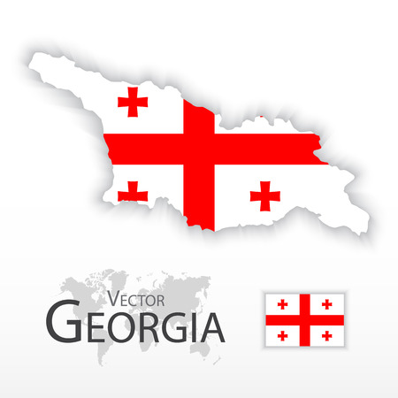 georgia flag: Georgia ( Republic of Georgia ) ( flag and map ) ( transportation and tourism concept )